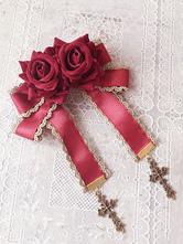 Lolita broche Infante ornement métallique avec noeud unicolore broche de croisière Broche gothique en fibre polyester