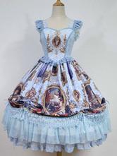 Robe à bretelles lolita éblouissante en polyester impression plissée encolure en coeur Robe  Déguisements Halloween