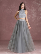 Two Piece Prom Dresses Crop Top Homecoming Dress Grey Tulle Beading High Collar A Line Maxi Occasion Dress Milanoo