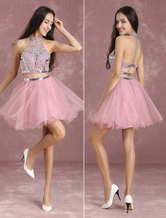 Two Piece Homecoming Dresses Cameo Pink Prom Dresses Crop Top Tutu Tulle Illusion Beading High Collar A Line Mini Party Dress Milanoo