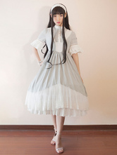 Classic Lolita Dress OP Neverland Chiffon Ruffles Two Tone Grey Lolita One Piece Dress