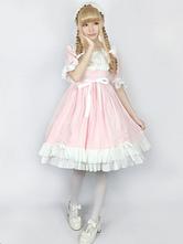 Rococo Lolita OP One Piece Dress Round Neck Lace Trim Two Tone Ruffles Pink Lolita Dress