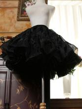 Sweet Lolita Petticoat Ruffles Pleated Organza Tu Tu Skirt Black Lolita Pettiskirt