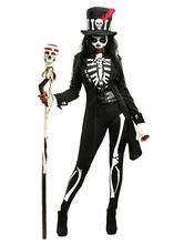Carnevale Costume Giorno dei Morti nero di poliestere per donna scheletro con blocchi di colore set tuta&cintura&pantaloncini&cappotto&cappello Halloween