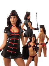 Halloween Kostüm Scharmantes von Polizist Kostüm mit Farbblock in Schwarz Faschingskostüme