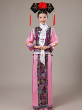 Halloween Chinese Costume Mahogany Satin Color Block Long Dress With Waistcoat For Women