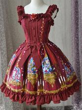 Classic Lolita JSK Jumper Skirt Magic Tea Party Ruffles Ribbons Fairytale Printed Square Neck Sleeveless Burgundy Lolita Dresses