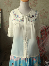 Sweet Lolita Blouses Magic Tea Party Chiffon Peter Pan Collar Lace Short Sleeve Ribbons White Lolita Top