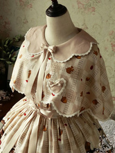 Sweet Lolita Cloak Magic Tea Party Chiffon Peter Pan Collar Animal Print Lace Bows Champagne Lolita Ponchos