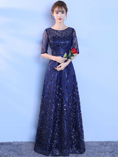 Dark Navy Evening Dress Lace Sequins Illusion Half Sleeve Formal Dresses Round Neck Long Occasion Dresses wedding guest dress