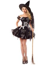 Fantasia femenino para adultos de poliéster Bruxa cor sólida conjunto poli/mistura de algodão preta  Halloween