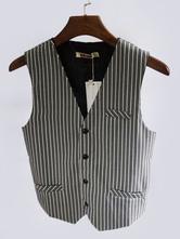 Halloween Vintage Waistcoat Men's Aristocrat Gray Retro Costume