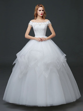 Off Shoulder Wedding Dresses Princess Pearls Chains Beaded Tulle Tiered Ivory Maxi Floor Length Bridal Gown