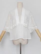 Hanfu Lolita Cover Ups Chiffon Lace Trim Ruffles White Lolita Top