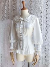 Rococo Lolita Blouses Lace Chiffon Ruffles Peter Pan Collar White Lolita Top