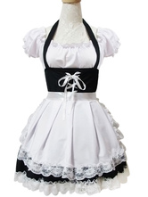 Maid Lolita Outfits White Lace Ruffles Short Sleeve Bateau Neck Two Tone OP One Piece Dress With Apron