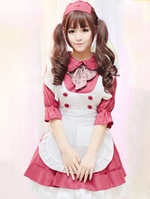 Maid Lolita Outfits Dark Red Bows Ruffles Peter Pan Collar Two Tone OP One Piece Dress With Apron And Headpieces