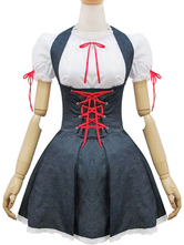 Maid Lolita Outfits Denim Deep Grey Two Tone Lace Up Ruffles Lolita JSK Jumper Skirt With Round Neck Short Sleeve Blouses