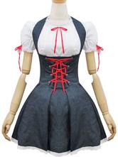 Zofe Lolita Outfits Denim tiefgrau zwei Ton Lace Up Rüschen Lolita JSK Jumper Rock mit Rundhals Kurzarm Blusen
