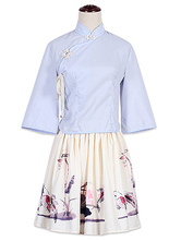 Hanfu Lolita Outfits Light Blue Stand Collar Long Sleeve Top With Floral Print Pleated Skirt