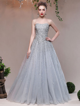 Luxury Prom Dresses Long Beading Sequins Strapless Silver Tulle Floor Length Formal Party Dresses