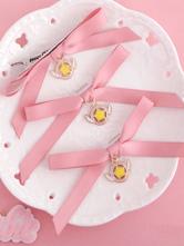 Lolita colar de metal doce acessórios acessórios para a cabeça para informal com desenho de estrelas cor de rosa
