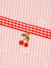 Sweet Lolita Choker Strawberry Metal Details Plaid Red Lolita Accessories