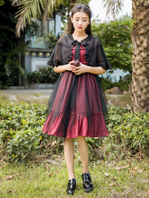 Gothic Lolita Outfits Round Neck Short Sleeve Cover Ups With Ruffles Pleated Dark Red Dresses