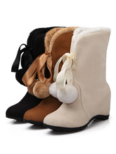Classic Lolita Boots Wedge Heel Round Toe Suede Lolita Winter Booties