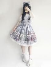 Classic Lolita JSK Pullover Rock Infanta Chiffon Spitze gefaltet Märchen gedruckt Illusion blau Lolita Kleider