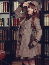 Lolita Manteau Infante automne Manteaux avec bouton col à revers écossaise steampunk manches longues en laine Tea party