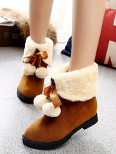 Classic Lolita Boots Suede Round Toe Brown Faux Fur Lolita Winter Booties
