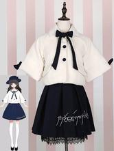 Sweet Lolita Tweed Coat Turndown Collar Bows Two Tone White Lolita Winter Coat