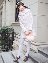 Sweet Lolita Winter Coat Long Sleeve Hooded Plaid Tweed White Lolita Overcoat