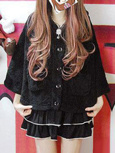 Sweet Lolita Coat Hooded Long Sleeve Black Lolita Cape Coat