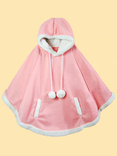 Sweet Lolita Poncho Hooded Long Sleeve Pom Poms Pink Lolita Cape Coat