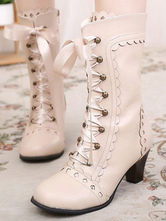 Classic Lolita Boots Round Toe Prism Heel Lace Up Champagne Lolita Winter Boots