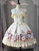 Classic Lolita JSK Jumper Skirt Magic Tea Party Chiffon Sleeveless Bows Ruffles Frills Birds Printed Daffodil Lolita Dress