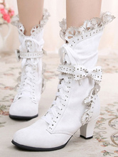 Rococo Lolita Ankle Boots Round Toe Prism Heel Lace Up Bows White Lolita Winter Booties