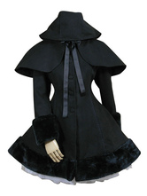Gothic Lolita Outfits Wool Black Ribbons Hooded Cape With Winter Coat