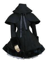 Lolita Cappotto gotico nero in lana mista fiocchi incappucciato maniche lunghe mantello&cappotto Tea party