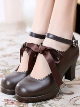 Classic Lolita Shoes Square Toe Platform Prism Heel Bows Deep Brown Lolita Shoes