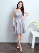 Homecoming Dresses Lace Silver Short Illusion Bow Sash Formal Cocktail Party Dress