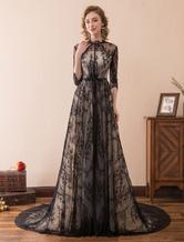 Abendkleider Halskragen Hochzeit A-Linie- Abendkleider mit Spitze Spitze Formelle Kleider 1/2 Ärmel mit Reißverschluss Schwarz  und Court-Schleppe