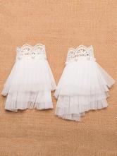 Classic Lolita Cuffs Lace Tulle Ruffles Layered White Lolita Accessories