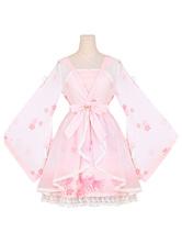 Hanfu Lolita Outfits OP One Piece Dress Chiffon Soft Pink Long Sleeve Ruffles Printed Cover Up With JSK Jumper Skirt