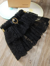 Classic Lolita Wrist Bands Lace Ruffles Gems Black Lolita Accessories