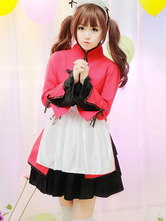 Maid Lolita Outfits Stand Collar Long Sleeve Color Block Pleated Ribbons Red OP One Piece Dress Set In 4 Pieces