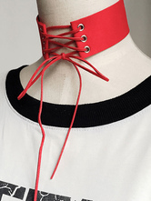 Gothic Lolita Choker Lace Up Red Lolita Necklace