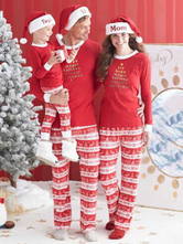 Women's Family Christmas Pajamas Mom Red Top With Pants Mother Morning Pajamas